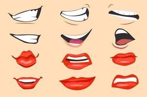 Conjunto de expresiones de boca de dibujos animados. ilustración vectorial. vector