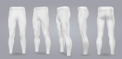 Maqueta de leggings blancos de hombres de diferentes lados, aislado en un fondo gris. Ilustración vectorial realista 3d vector