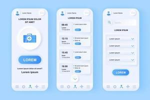 Medical services unique neomorphic mobile app design kit vector