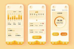 Fitness workout unique neomorphic mobile app design kit vector