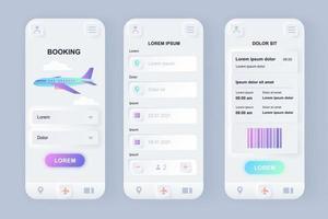 Flight booking unique neomorphic mobile app design kit vector