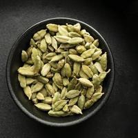 Flat lay bowl of pumpkin seeds photo
