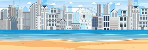 Beach horizontal scene at day time with city background vector