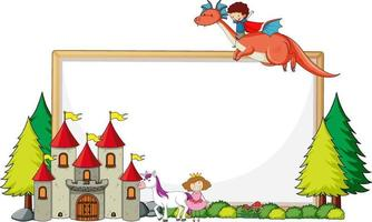 Empty banner with castle and a boy riding dragon vector