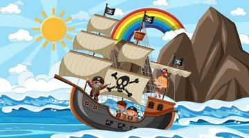 Beach with Pirate ship at daytime scene in cartoon style vector