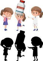conjunto de una niña haciendo diferentes actividades. vector