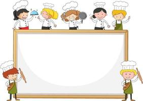 Empty banner with many little chefs on white background vector
