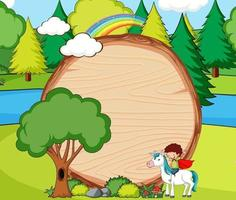 Empty wooden banner in the forest scene with fairy tale cartoon character and elements vector