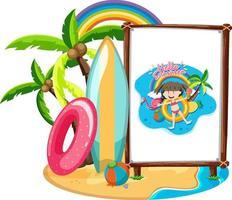 Little girl logo on banner in beach scene isolated vector