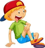 A boy wearing cap in sitting pose cartoon character isolated vector