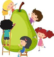 Big pear with many kids cartoon character vector