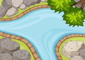 Aerial view of river close up with park element vector