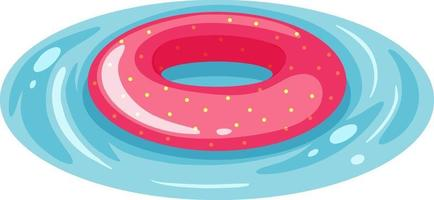 Pink spotted pattern swimming ring in the water isolated vector