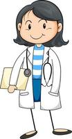 Female doctor cartoon character isolated vector