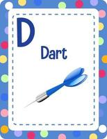 Alphabet flashcard with letter D for Dart vector
