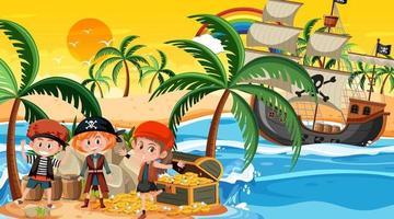 escena de la isla del tesoro al atardecer con niños piratas vector