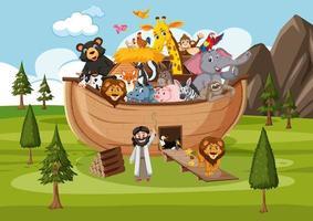 Noah Ark with wild animals in nature scene vector