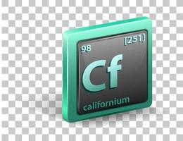 Californium chemical element Chemical symbol with atomic number and atomic mass vector