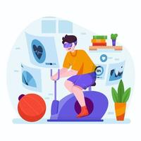 Virtual Reality Home Gym Concept vector