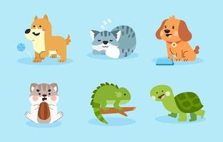 Collection of Different Pets vector