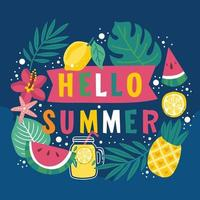 Hello Summer Tropical Background vector