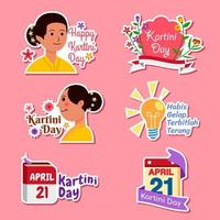 Kartini Day Celebration Sticker Set vector