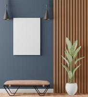 Interior with dark wall, 3d rendering photo