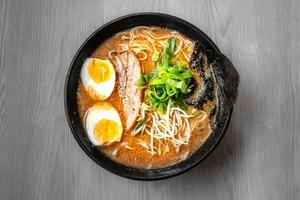Bowl of mouth watering Japanese ramen for single serving photo