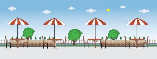 Outdoor restaurant or cafe background design vector
