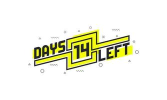 14 days left countdown sign for sale or promotion. vector