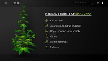 Medical benefits of marijuana, black poster for website with bush of cannabis. Medical uses for marijuana, benefits of use vector