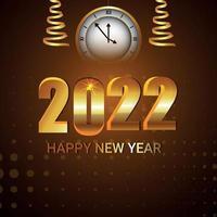 efecto de texto de vector creativo de la tarjeta de celebración de feliz año nuevo 2022
