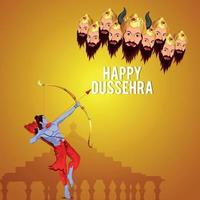Vector illustration of shri rama and Ravana for happy dussehra background