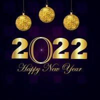 Tarjeta de felicitación de celebración de feliz año nuevo 2022 con bola de fiesta dorada de vector creativo