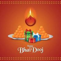 Happy bhai dooj beautiful vector illustration and gifts