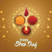 Tarjeta de felicitación de celebración del festival indio tradicional con ilustración vectorial creativa de bhai dooj vector