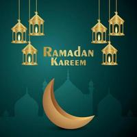 tarjeta de felicitación de invitación de eid mubarak con linterna dorada creativa y luna vector