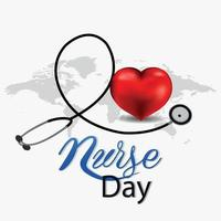 International nurse day invitation background with creative heart and medical instrument vector