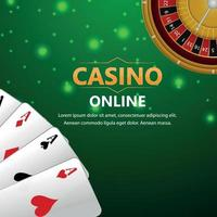 Online casino gambling game with playing card, roulette wheel and casino chip vector