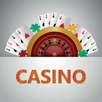 Casino gambling game with creative illustration with roulette wheel with playing card vector