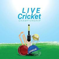 Live cricket tournament match with creative cricket equipment on creative background vector