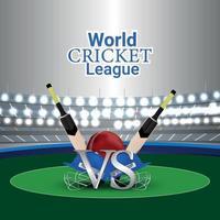 World cricket league on stadium background with cricket equipment vector