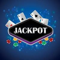 Jackpot casino creative vector illustration with playing card and casino chips