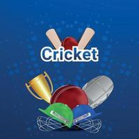 Cricket league tournametn match with cricket equipment and stadium background vector