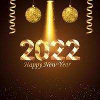 Tarjeta de felicitación de invitación de vacaciones de feliz año nuevo 2022 con bolas de fiesta doradas de vector