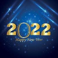 2022 happy new year celebration greeting card with golden text vector