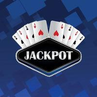 Casino jackpot vector illustration of playing cards on blue background