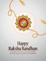 Folleto de invitación feliz raksha bandhan con rakhi creativo sobre fondo blanco vector