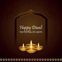 Happy diwali festival of lights with creative diya and golden ganesha vector