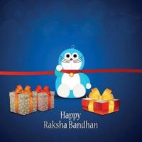Happy raksha bandhan indian hindu festival with kids rakhi and gifts vector